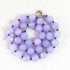 """Gemstone Necklace 18 """"Aaa Faceted 10mm violet jade Beads"""
