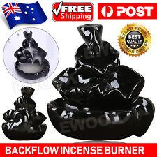 Ceramic Glaze Incense Smoke Cone Burner Backflow Censer Tower Holder AU