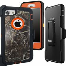 For iPhone 7, Defender Case Camo Straw Orange w/Screen Protector Fit & Otterbox