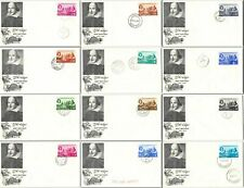 Unaddressed Fdcs of 12 former colonies of Great Britain with Shakespeare cachet
