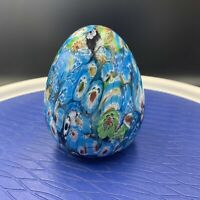 "Vintage Multi-Colored Glass Paperweight-Egg-Hand Blown-Beautiful 4"" x 3"""