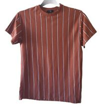 New Look Mens T-Shirt S Jersey Brown Stripe Short Sleeve 100% Cotton Chest 37''