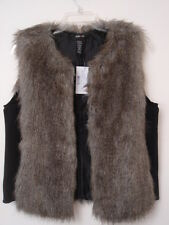 $89 Style&Co Faux Fur Vest women L Black Outerwear Sleeveless NWT