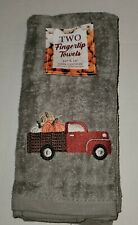 (2) Fall Fingertip Towels Embroidered Gray Farm Red Truck Pumpkins 12