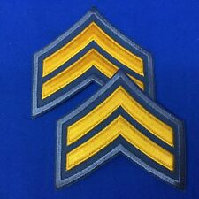 Police Corporal Stripe Patches Gray With Gold Emb. Set of 2  #P17-14