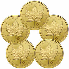 Lot of 5 - 2020 Canada 1 oz Gold Maple Leaf $50 Coins GEM BU