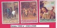Année 1990, 3  Timbres poste Œuvre d'art belge à l'étranger N° 2393-2394-2395