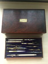 Collectable & Rare Victorian Cow Bone Drawing Instrument Set In Mahogany Box