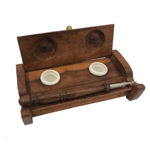 """7"""" Wood Inkwell Stand with Clay Inkwells and Wood Nib Pen - Antique Reproduction"""