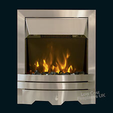 ELECTRIC SILVER FLAT TO WALL FLAME FIREPLACE PEBBLE COAL FREESTANDING LED FIRE
