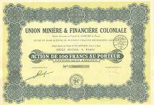 Union Miniere & Financiere Coloniale SA, accion, 1929 (Siege: Paris)