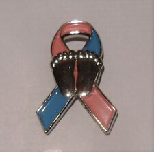 **NEW** Pink & Blue Neonatal Awareness ribbon enamel badge / brooch. Charity.