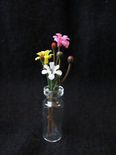 Miniature Flowers and Buds in Glass Vase Clear Vase Dollhouse Vs2