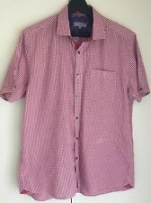 NWOT Ted Baker London Short Sleeve Red Plaid Slim Fit Shirt SZ 4/ Large.
