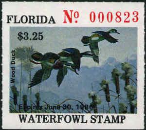 FLORIDA #7 1985 STATE DUCK STAMP WOOD DUCKS by Bob Binks