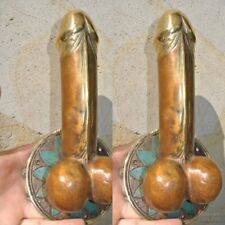 "2 PENIS shape DOOR PULL or HOOK hand made solid brass 9 "" handle heavy B"