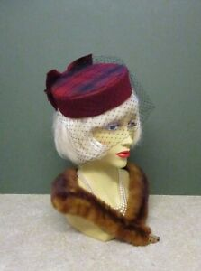 1940's Vintage Style Dark Red Pill Box Hat - Face Net & Bow
