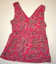Tommy Hilfiger Sleeveless Babydoll Style Shirt  Pink Paisley Blouse Size Small
