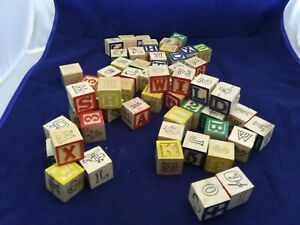 Educational Alphabet Wood Blocks 59 blocks EXCELLENT COND