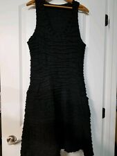 NWOT JILL MCGOWAN 100% Wool BLACK TEXTURED V NECK DRESS. SZ L
