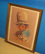 Johnny Little Wolf Print/Framed in glass/ by Monteague/Very Nice Condition.