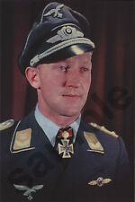 aviation art luftwaffe pilot photo postcard Werner Schroer WW2 JG 27 3 Me 109