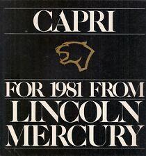 MERCURY CAPRI 1981 Stati Uniti del mercato delle vendite BROCHURE standard GS RS Turbo MAGIA NERA