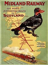 TRAVEL TRAIN RAIL ENGINE STEAM GROUSE MAP UK SCOTLAND LONDON PRINT LV4473
