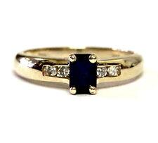 14k yellow gold .12ct SI2 H diamond sapphire womens ring 3.2g estate ladies
