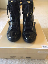 Michael Kors Skid black leather wedge bootie size 10