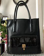 Lovely Designer Genuine Pied a Terre Black Leather Large Tote Over Shoulder Bag