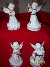 """Angels Playing Music Set of 4 White Porcelain with Gold Trim 5"""" Cute!"""