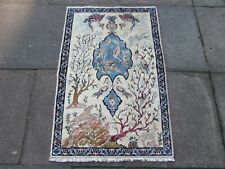 Fine Vintage Hand Made Traditional Oriental Wool White Blue Small Rug 111x71cm