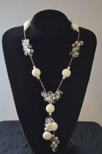 White Pearl, Porcelain Stone and Clear Crystal Necklace