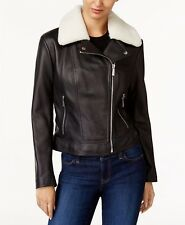 NWT Michael Kors lamb fur collar leather moto jacket, size XS