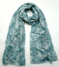 NEW FAT FACE SOFT GREEN BUTTERFLY FLORAL SCARF