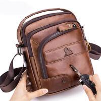 100% Genuine Leather Men's Sling Shoulder Bag Vintage Crossbody Bag Handbag