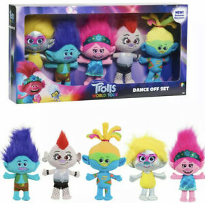 Dreamworks Trolls World Tour Dance Off Plush Set 5 Pieces NEW SEALED FAST SHIP