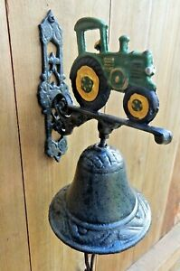 Cast iron wall bell painted Tractor Rustic style Door bell Farming UK SELLER