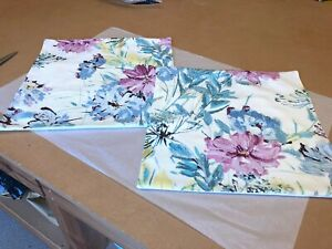 TWO HANDMADE REVERSIBLE  COVERS IN LAURA ASHLEY COSMOS OFF WHITE GREY GREEN