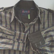 English Laundry Shirt Mens Sz 2XL Christopher Wicks Plaid LS Epaulets