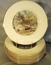 Set 12 Fine Porcelain Hand Colored A.B. Frost Sporting Prints Plates c.1961