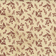 OLD GLORY GATHERINGS~BY 1/2 YD~MODA~1076-11~RED FLOWERS SPRIGS ON PIE CRUST TAN