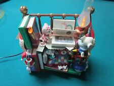 Enesco WHITE CHRISTMAS  old fashioned LIBRARY, READERS AND BOOKS, music box