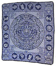 Woven AZTEC CALENDAR Design MEXICAN BLANKET decor wall hanging rug BLACK  91x81