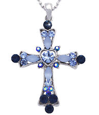 Christian Catholic Blue Crystal Heart Cross Pendant Necklace Jewelry n2004b