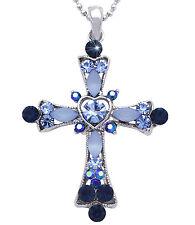 Christian Catholic Blue Crystal Heart Cross Pendant Necklace Jewelry n2004b