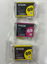 Lot of 3 New Genuine Epson 69 Ink Cartridges 1 Magenta and 2 Yellow