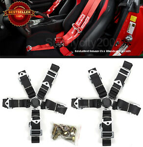 2 x 5-Point Cam Lock Quick Release Black Nylon Harness Seat Belt For Ford Chevy