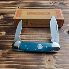 Rough Rider Blue Smooth Bone Canoe 440 Stainless Folding Pocket Knife RR1949